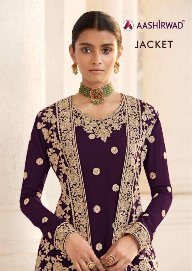 Aashirwad Creation Jacket Real Georgette With Embroidery Work Salwar Kameez Collection