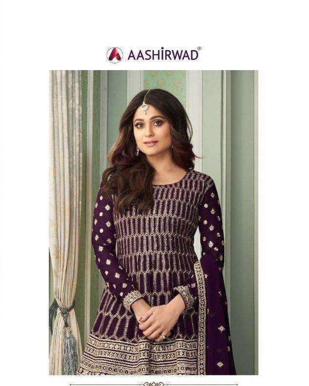 Aashirwad Creation Peplon Real Georgette With Embroidery Work Designer Salwar Kameez Collection