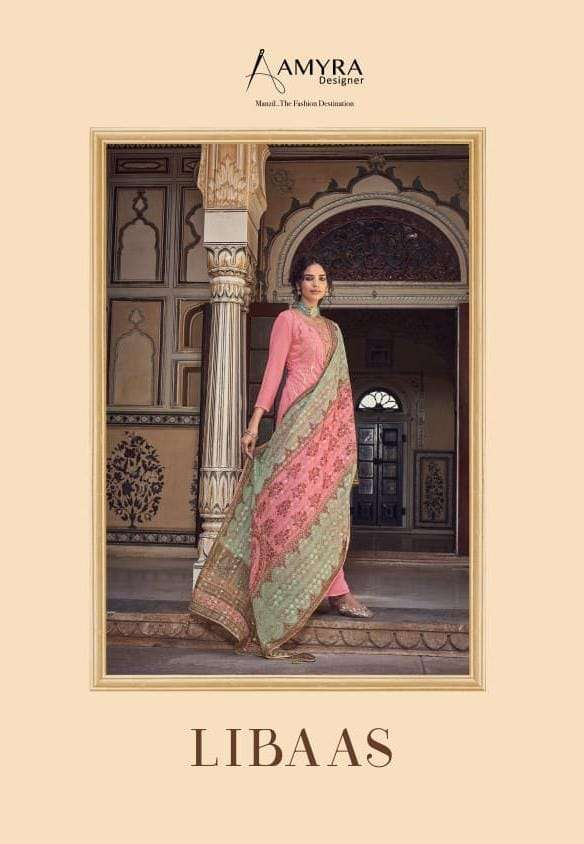 Amyra Designer Libaas Real Georgette With Embroidery Work Dress Material Collection