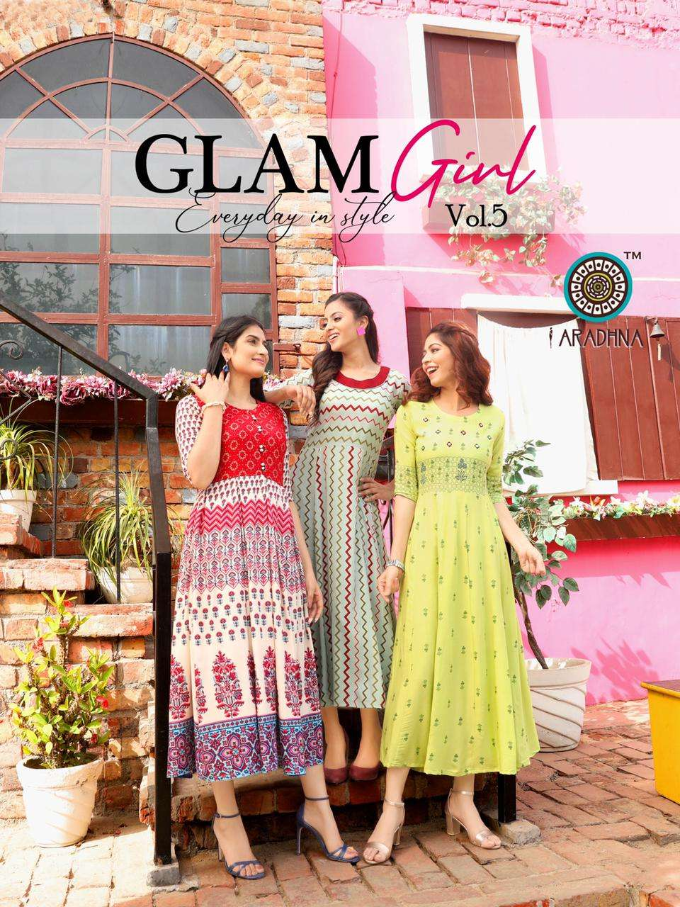 Aradhna Glam Girl Vol 5 Rayon With Work Kurtis collection at Wholesale rate
