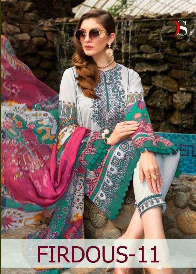 Deepsy Suits Firdous Vol 11 Pure Cotton With Embroidery Work Pakistani Suits Collection At Wholesale Rate