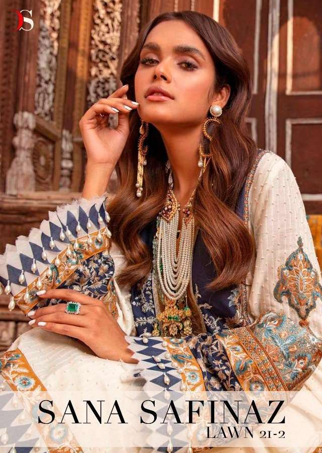 Deepsy Suits Sana Safinaz Lawn 21-2 Pure Cotton Net With embroidery Work Pakistani Suits Collection