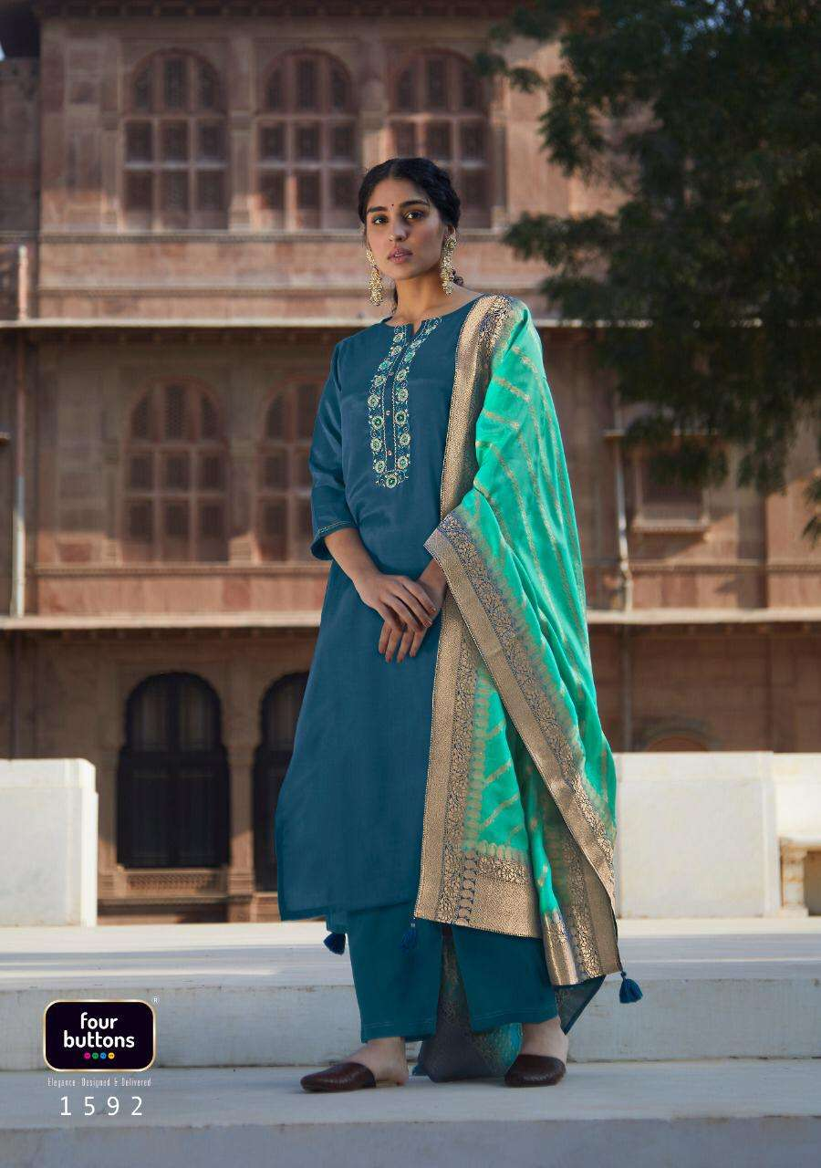Four Buttons Nazakat Pure Viscose Silk With Embroidery Work Kurtis Collection At wholesale Rate