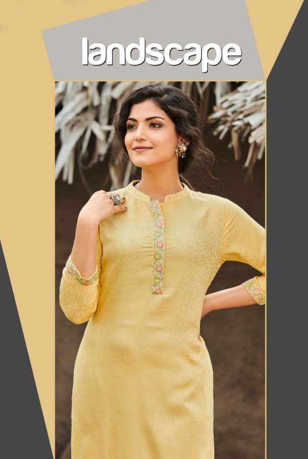 Global Local Landscape Rayon Jacquard Embroidery Work Kurtis Collection