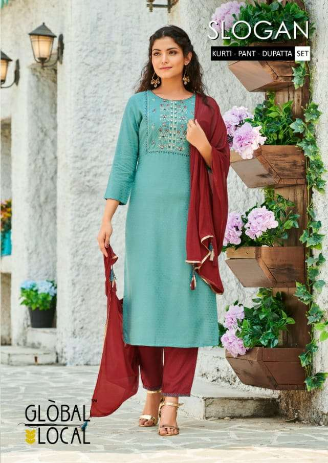 Global Local Slogan Rayon Dobby Embroidery Work Kurti with Pant With Dupatta collection