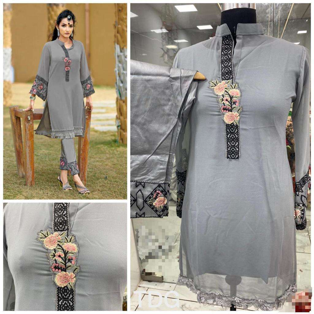 GREY Georgette Kurti with paint collection