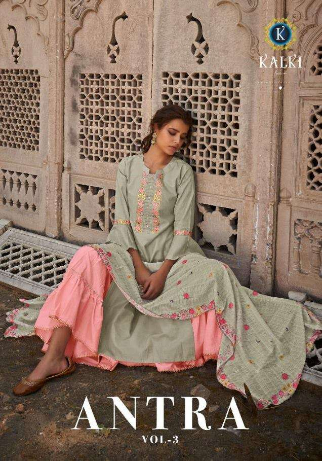 Kalki Fashion Antra Vol 3 Cotton With Embroidery Work Kurti With Sharara With Dupatta Collection