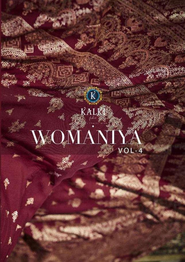 Kalki Fashion Womaniya Vol 4 Fancy Gold Foil Print Long Gown Style Kurtis Collection