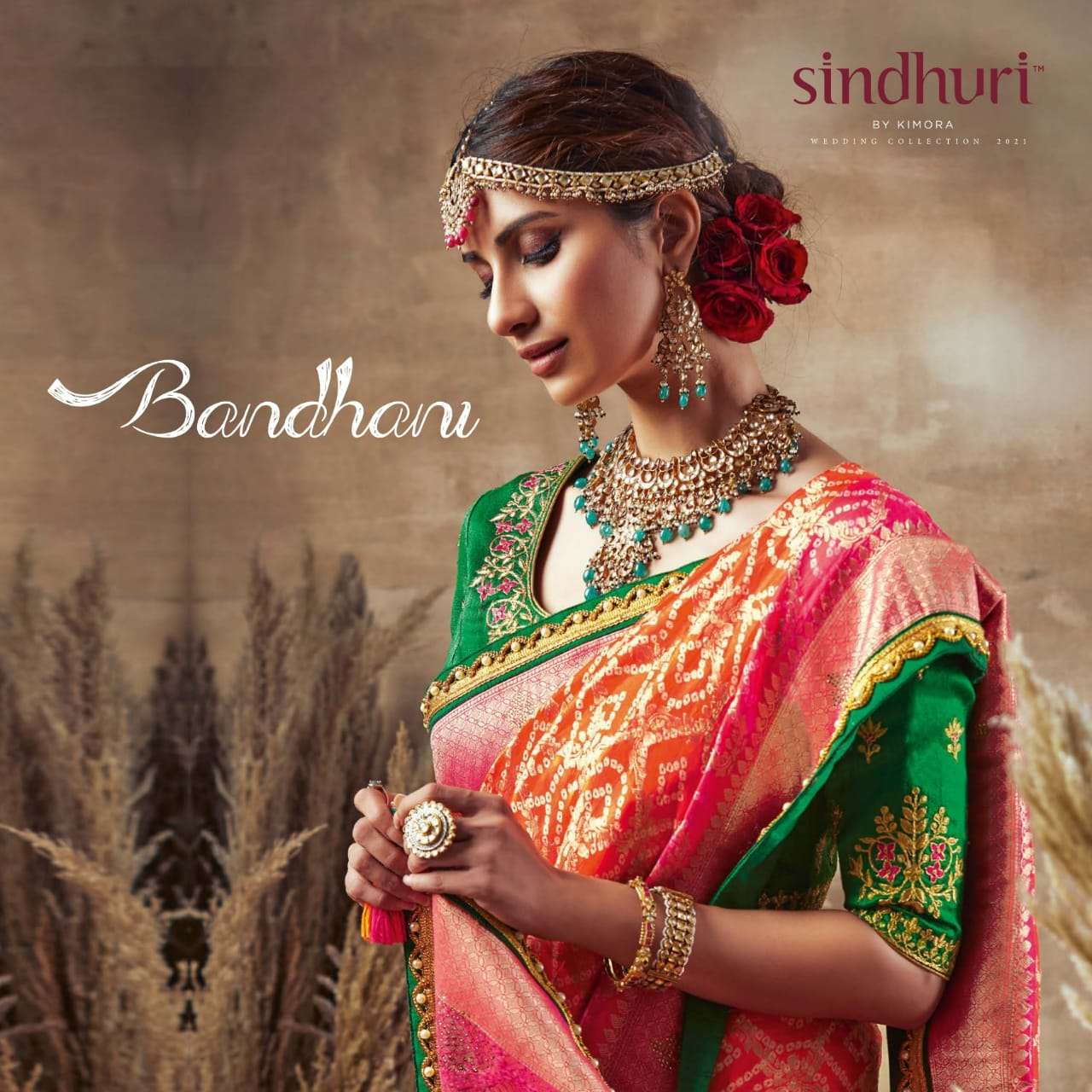 Kimora Sindhuri Bandhani Silk With Bandhej Print With Thread Work Heavy Sarees Collection
