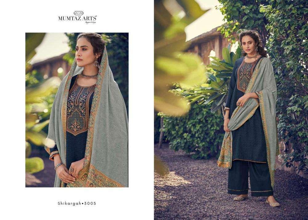 Mumtaz Arts Shikargah 3005 Jam Satin Digital Print With Kashmiri Work Dress Material