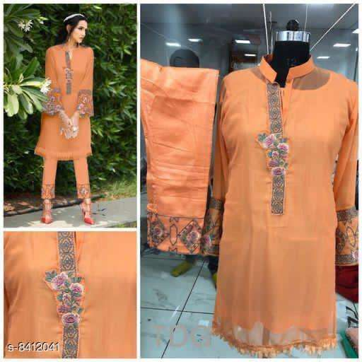 orange Georgette kurti with pint collection