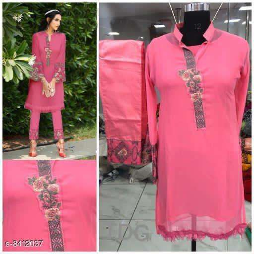 Pink Georgette Kurti with paint collection