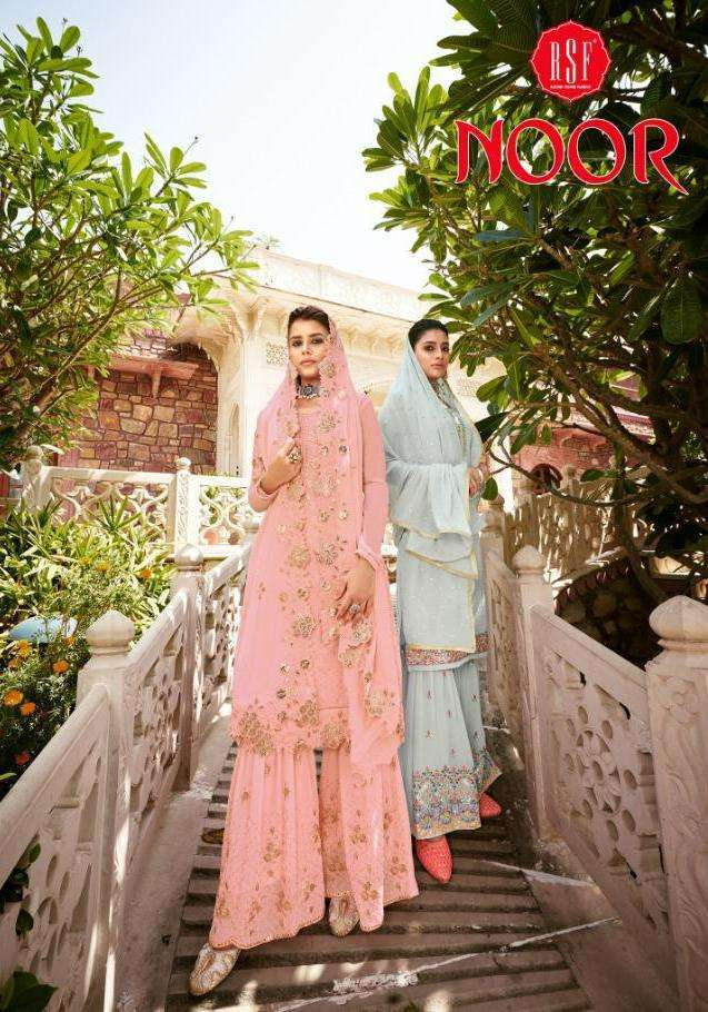 RSF Noor Pure Faux Georgette With Embroidery Work With Hand Sequence Work salwar Suits Collection
