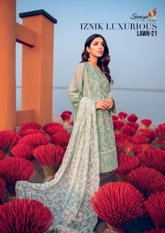 Saniya Trendz Iznik Luxurious Lawn Vol 21 Pure Cambric With Chicken embroidery Work Pakistani suits collection