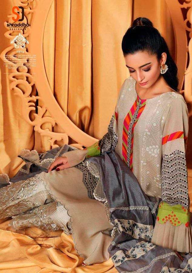 Shraddha designer Ceremony Lawn cotton Digital Print With embroidery Work Pakistani Dress Material Collection