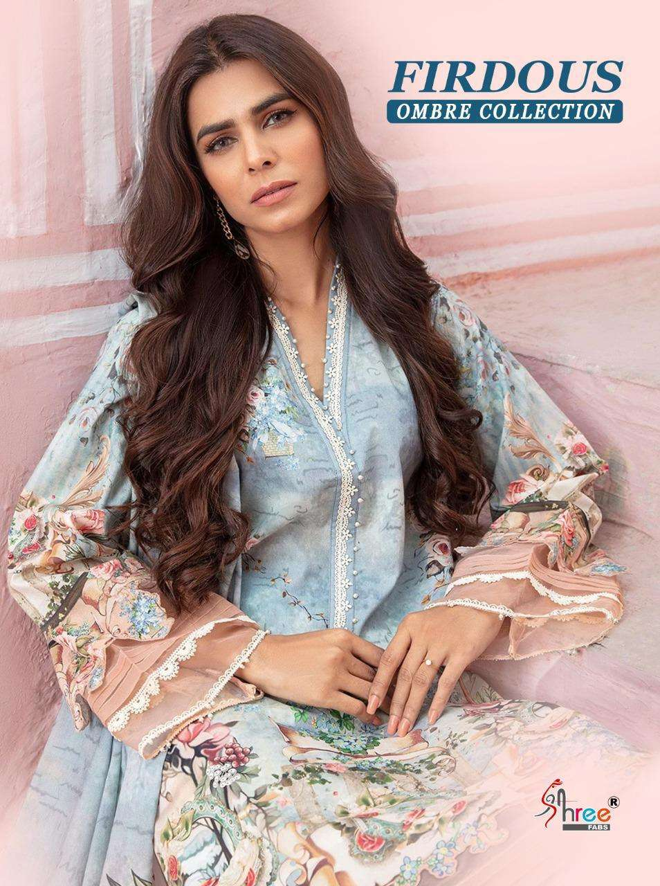 Shree Fab Firdous Ombre Collection Pure Cotton Print With Embroidery Work Pakistani Suits Collection