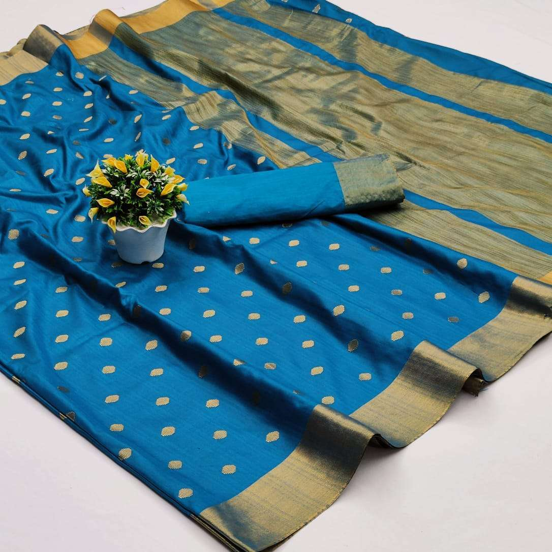 Soft Cotton Silk Saree With Jacquard Weaving Butti Sarees Collection 08