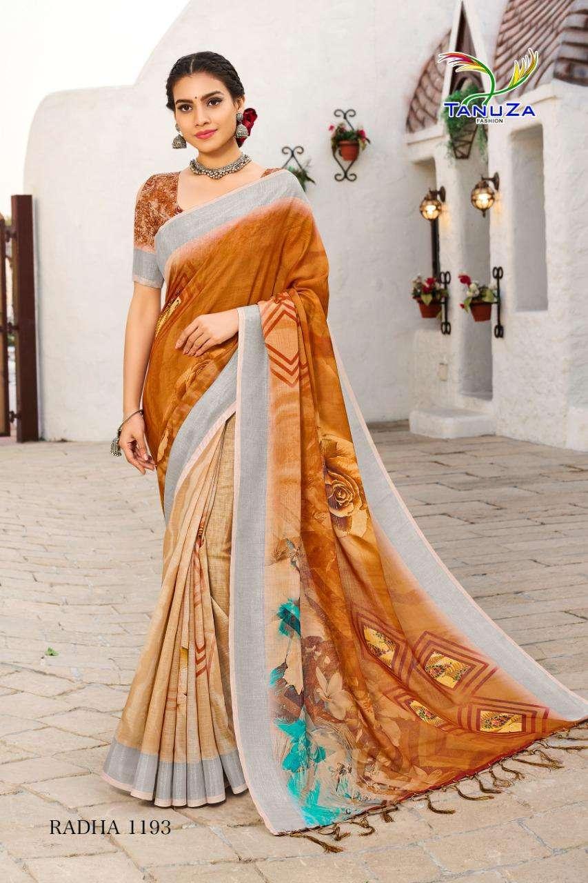 Tanuza Fashion Radha Cotton Linen With Zari Border Weaving Sarees Collection 11