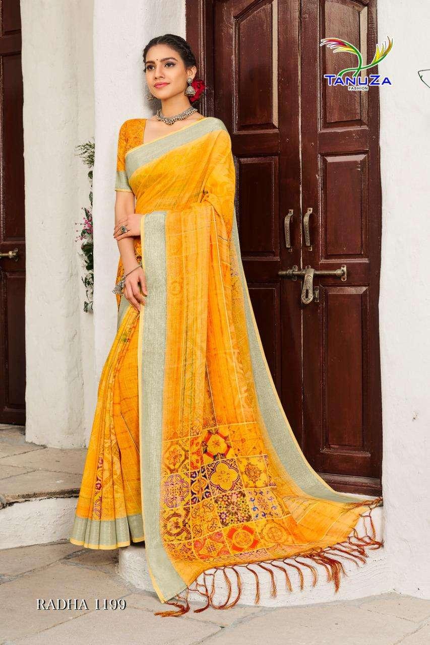 Tanuza Fashion Radha Cotton Linen With Zari Border Weaving Sarees Collection
