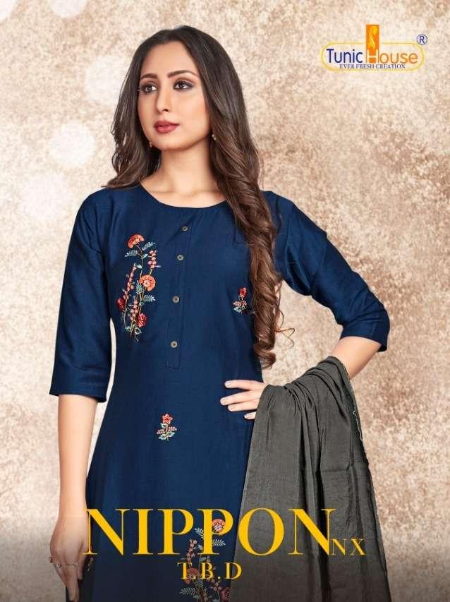 Tunic House Nippon NX Chinon Silk With Embroidery Work Kurtis Collection