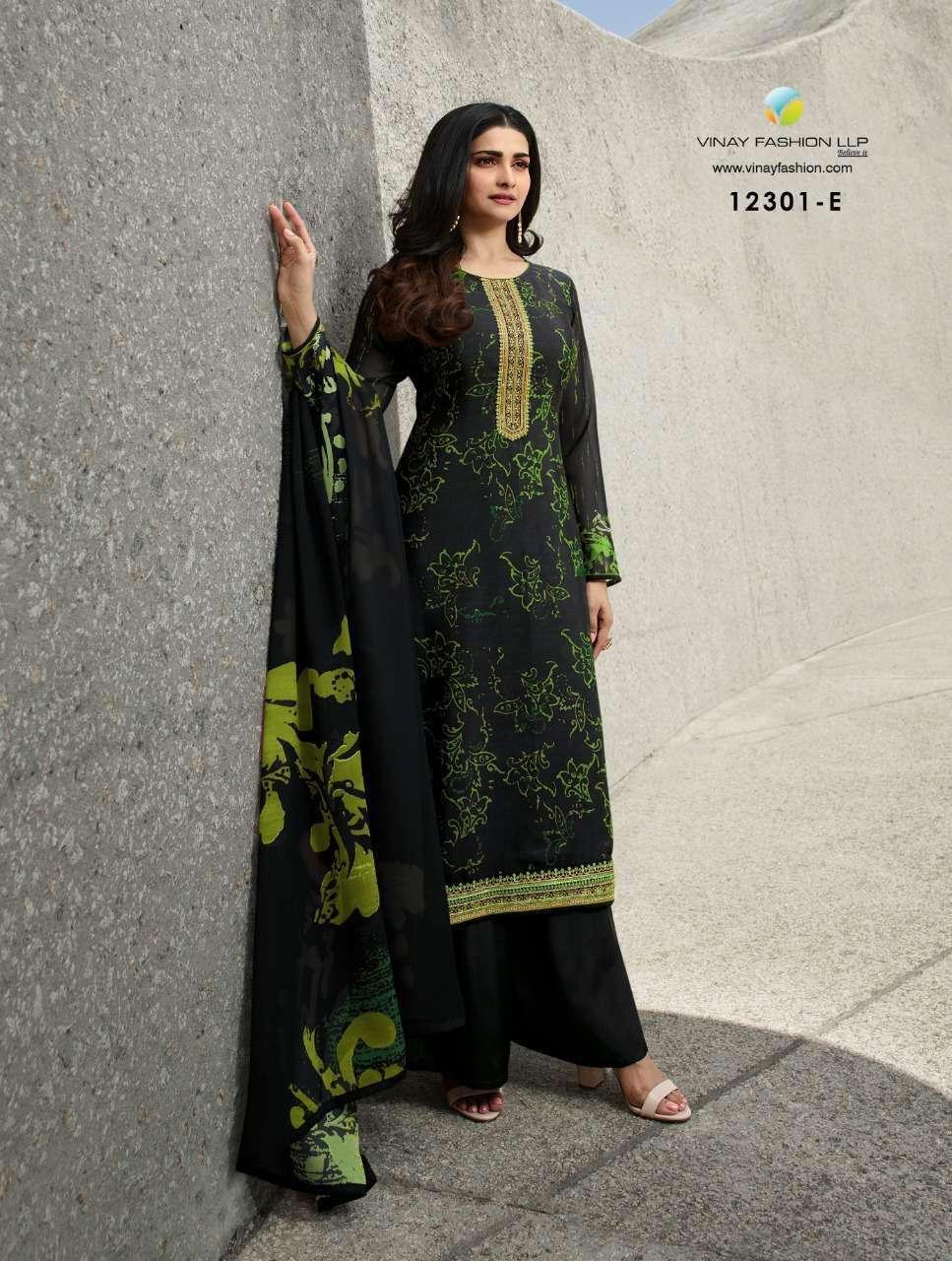 Vinay Fashion Royal Crepe Digital Print Dress Material 12301 E