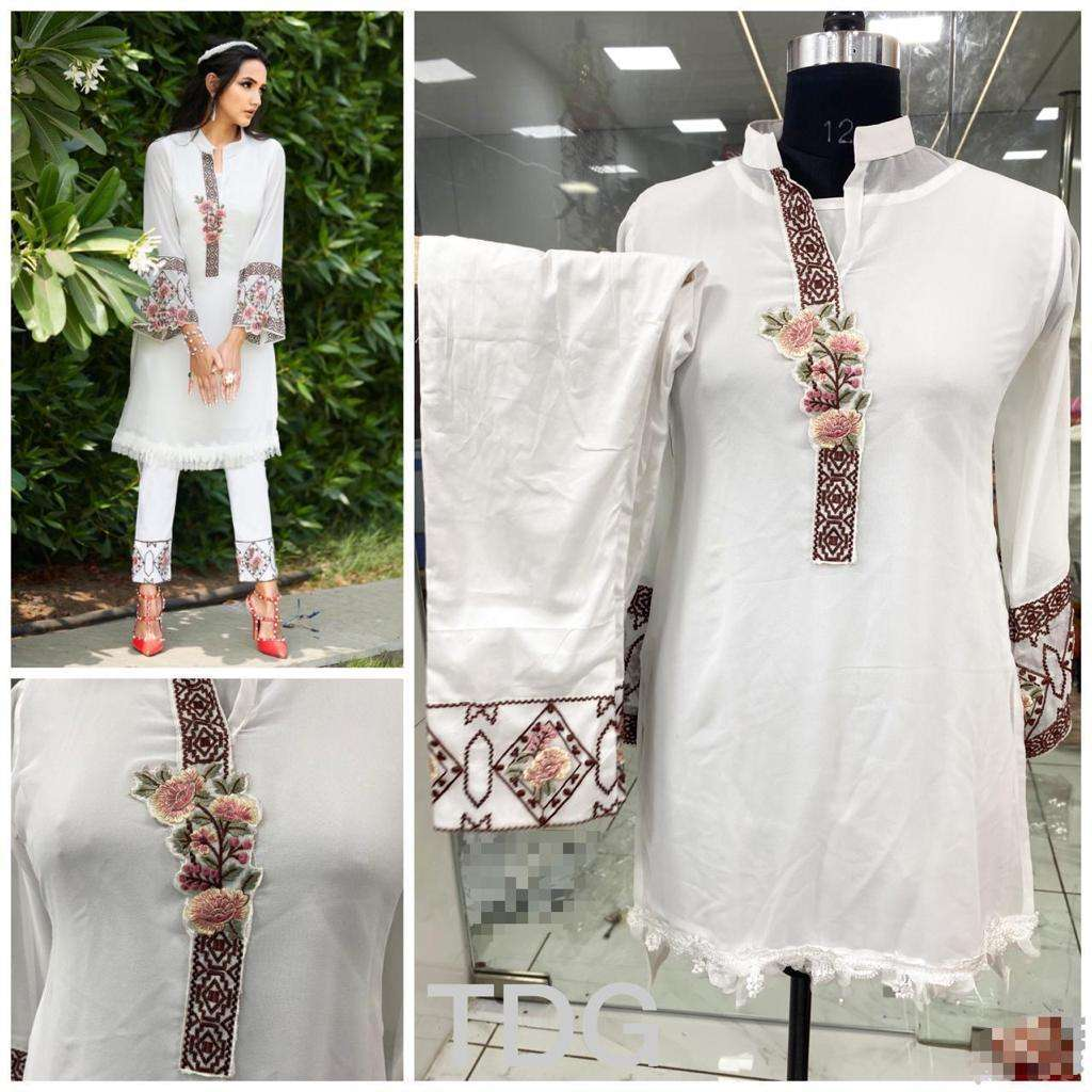 white Georgette kurti with pint collection