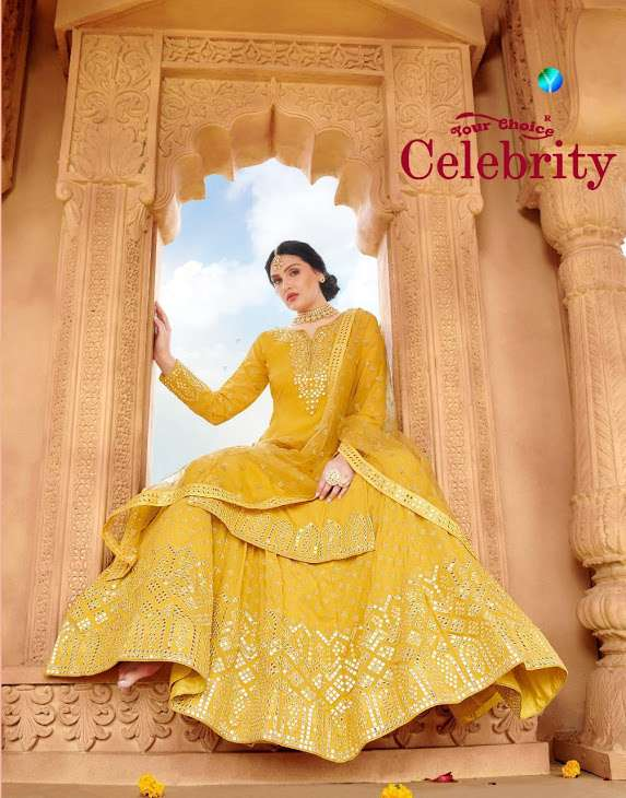 Your Choice Celebrity Georgette With Embroidery Work Sharara Suits