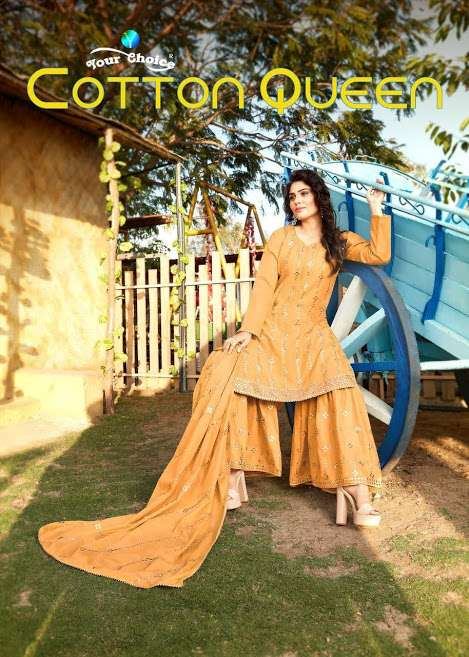 Your Choice Cotton Queen Lawn Cotton With Mirror Work Salwar Suits