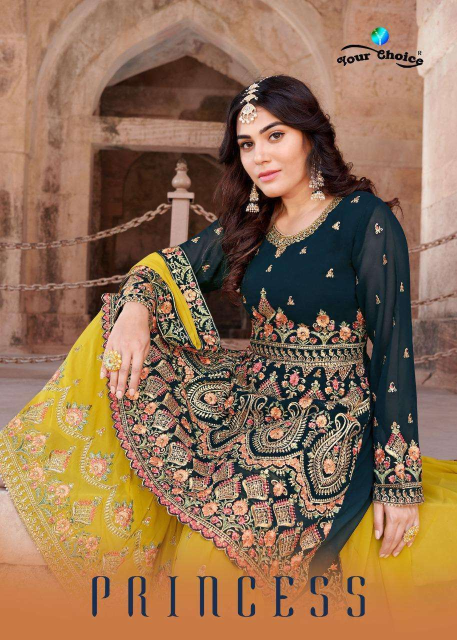 Your Choice Princess Blooming Georgette With Heavy Embroidery Work Salwar Suits Collection