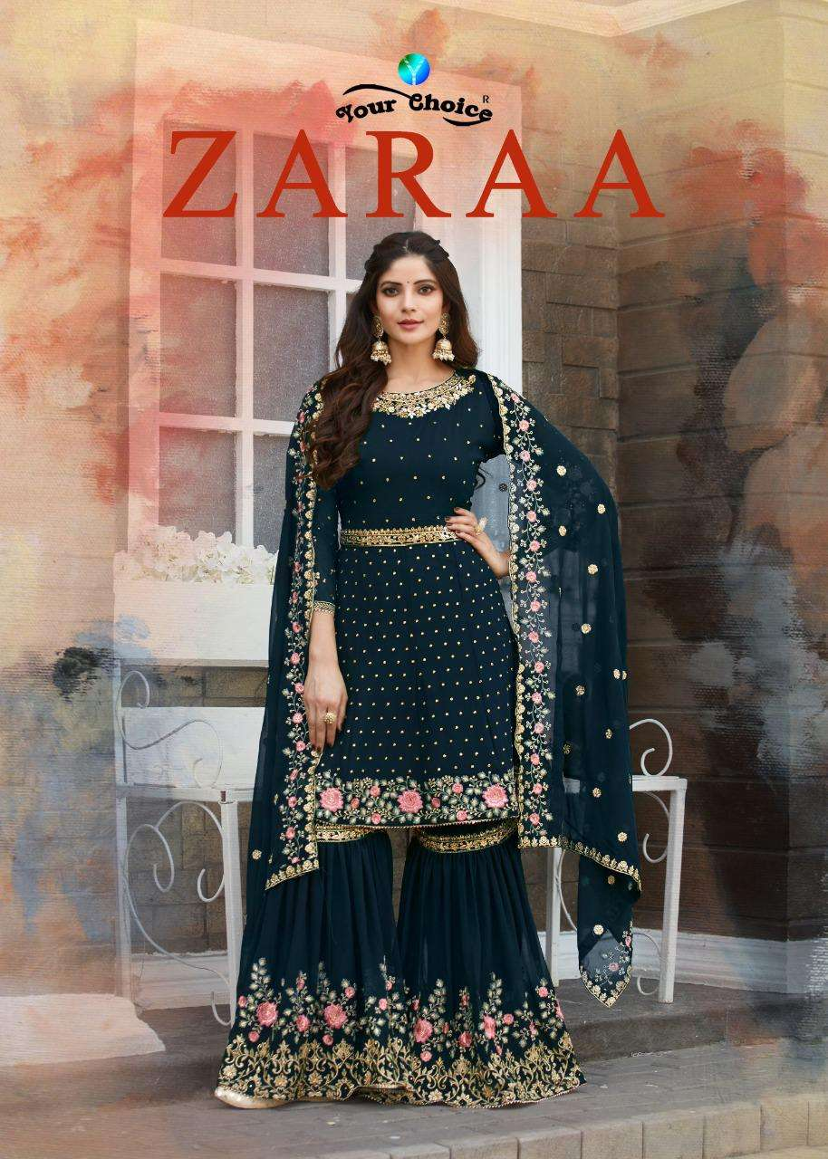 Your Choice Zaraa Georgette With Embroidery Work Sharara Suits Collection
