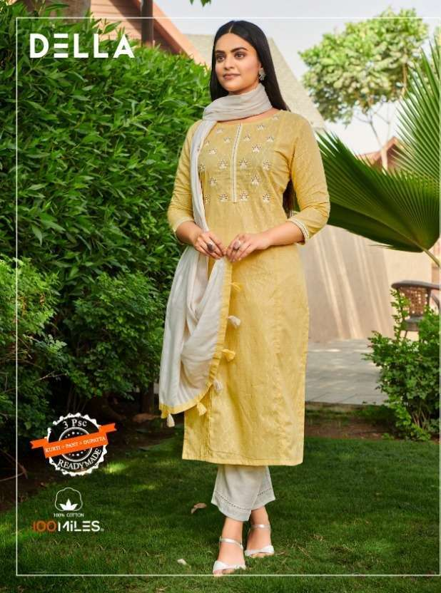100 MILES DELLA COTTON WITH EMBROIDERY WORK KURTI WITH PANT COLLECTON