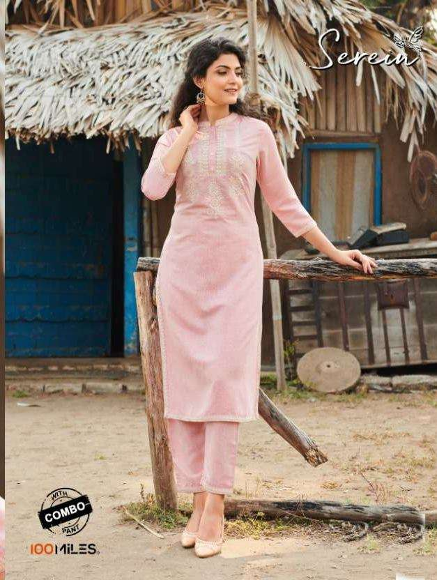 100 Miles Serein Cotton Linen With Embroidery Work Kurti with Pant Collection