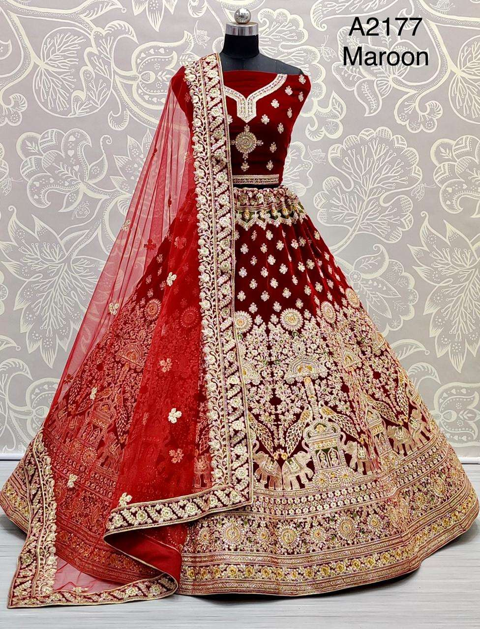 A2177 heavy velvet embroidery work designer bridal wear lehenaga choli collection