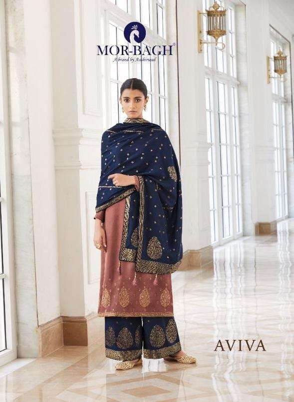 Aashirwad creation mor Bagh Aviva Royal Silk with Embroidery Work Dress Material Collection