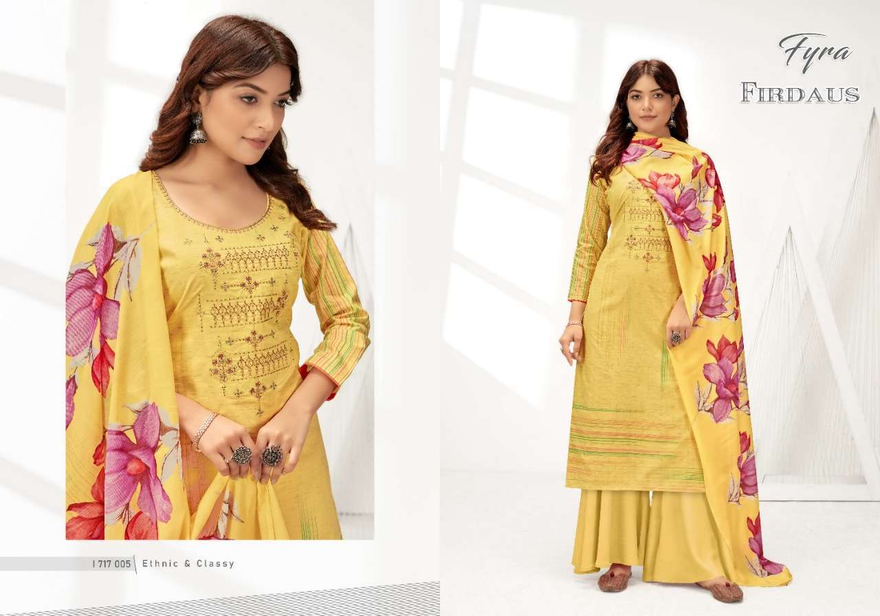 Alok Suits Fyra Firdaus Cotton Digital Print With Fancy Embroidery Swarovski Diamond Work Dress Material Collection 01