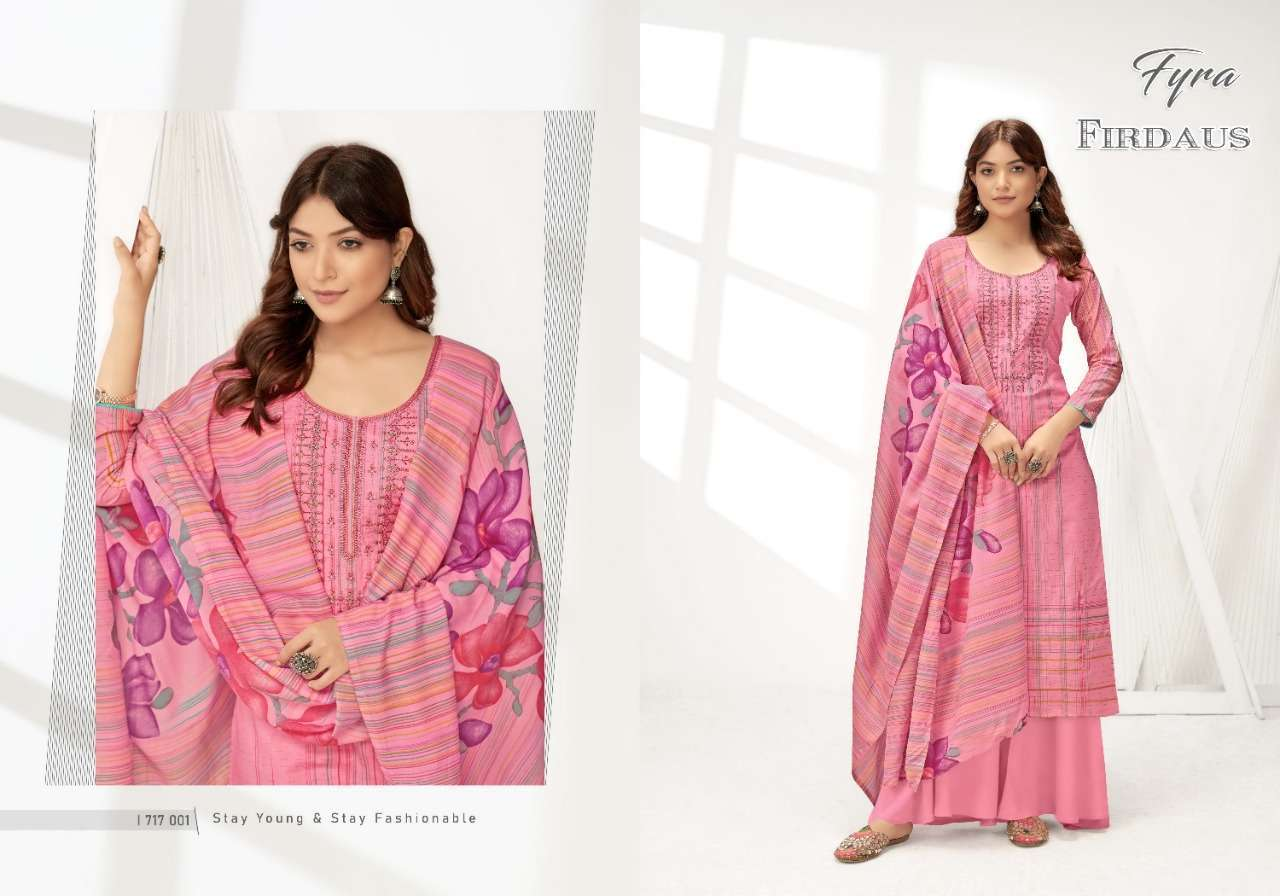 Alok Suits Fyra Firdaus Cotton Digital Print With Fancy Embroidery Swarovski Diamond Work Dress Material Collection 010
