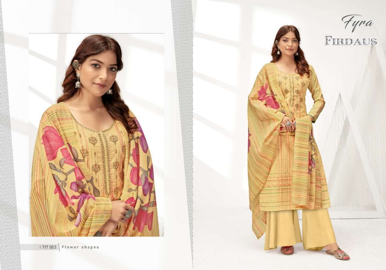 Alok Suits Fyra Firdaus Cotton Digital Print With Fancy Embroidery Swarovski Diamond Work Dress Material Collection 02