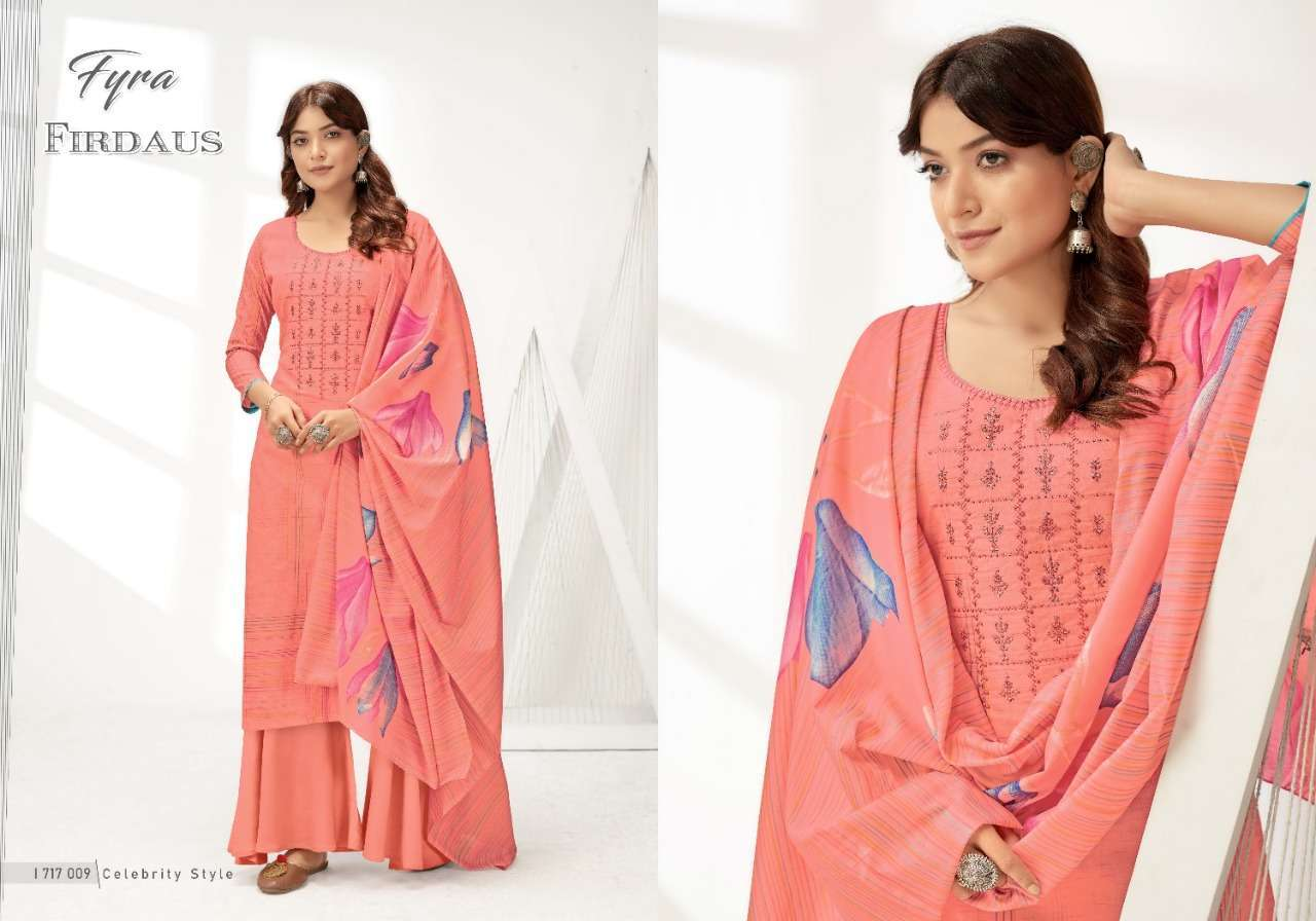 Alok Suits Fyra Firdaus Cotton Digital Print With Fancy Embroidery Swarovski Diamond Work Dress Material Collection 03
