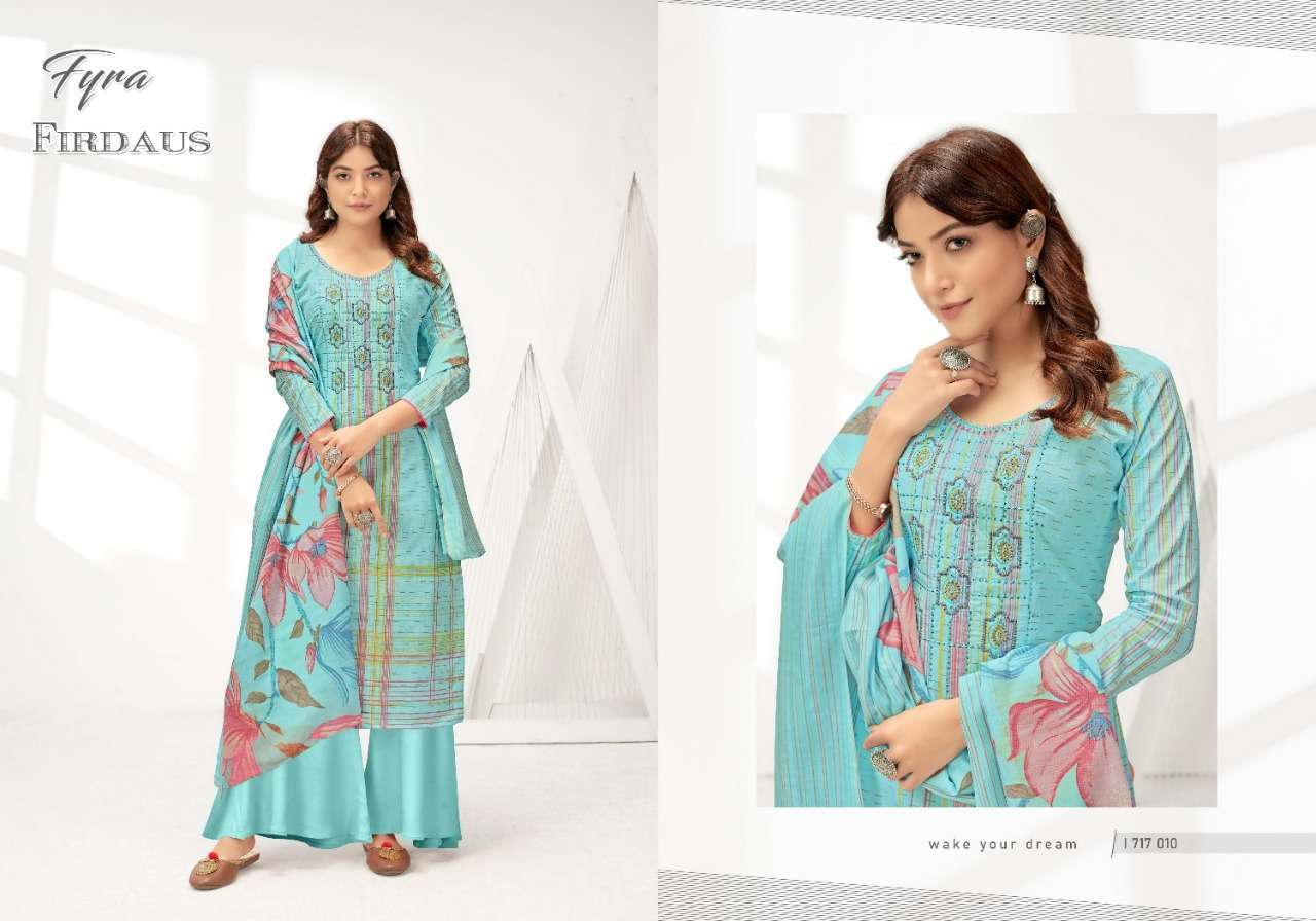 Alok Suits Fyra Firdaus Cotton Digital Print With Fancy Embroidery Swarovski Diamond Work Dress Material Collection 04