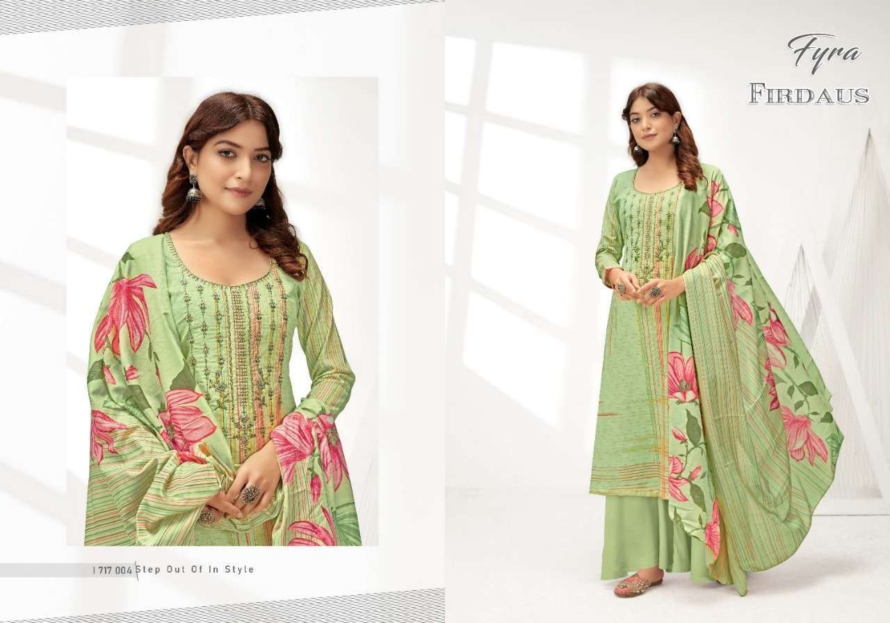 Alok Suits Fyra Firdaus Cotton Digital Print With Fancy Embroidery Swarovski Diamond Work Dress Material Collection 07