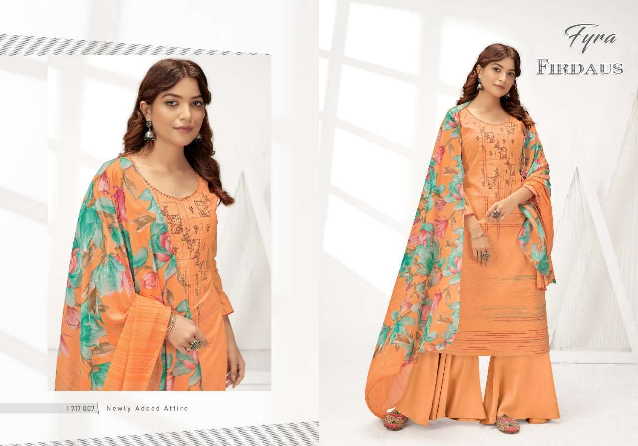 Alok Suits Fyra Firdaus Cotton Digital Print With Fancy Embroidery Swarovski Diamond Work Dress Material Collection 08