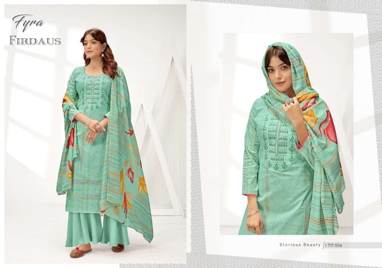 Alok Suits Fyra Firdaus Cotton Digital Print With Fancy Embroidery Swarovski Diamond Work Dress Material Collection 09
