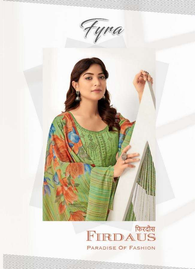 Alok Suits Fyra Firdaus Cotton Digital Print With fancy Embroidery Swarovski Diamond Work Dress Material Collection