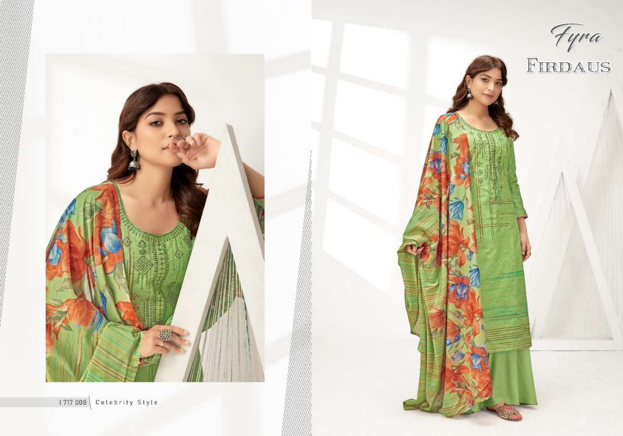 Alok Suits Fyra Firdaus Cotton Digital Print With Fancy Embroidery Swarovski Diamond Work Dress Material Collection 6