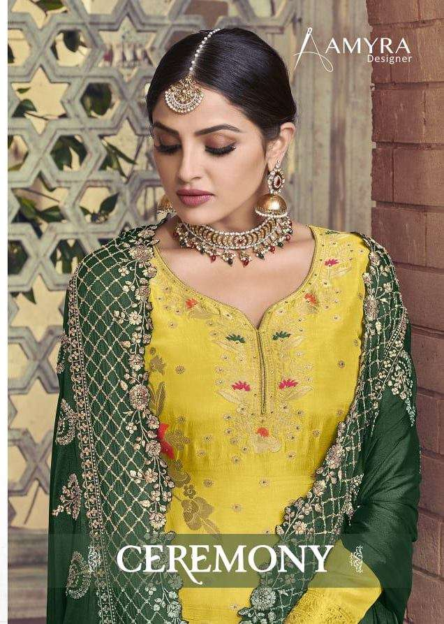 AMYRA DESIGNER CEREMONY PURE DOLA VISCOSE WITH EMBROIDERY DIAMOND WORK DRESS MATERIAL COLLECTION