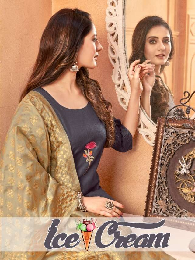 AVC Ice Cream Handloom Salb Kurti With banarasi Silk Dupatta Collection