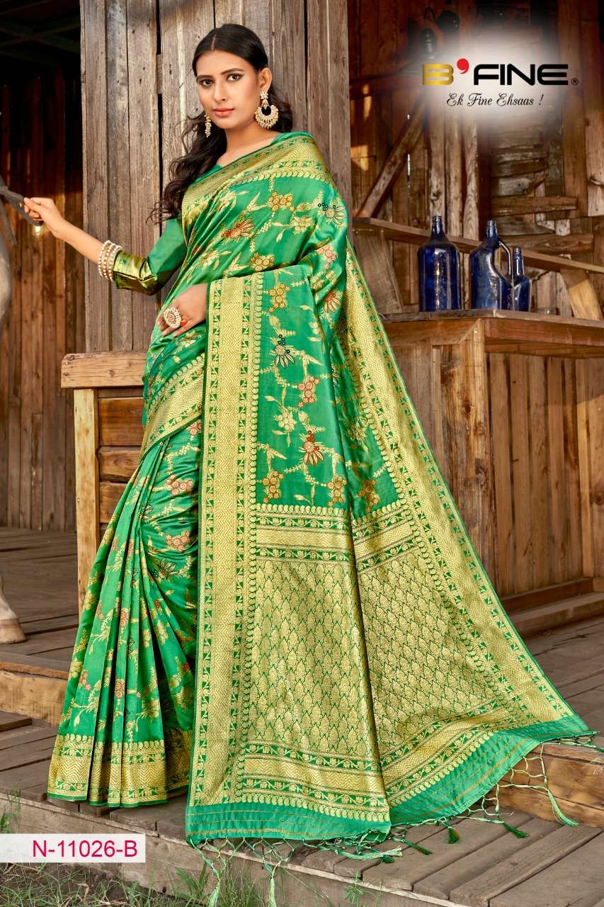 B FINE ART OF ZARI  soft silk party wear saree collection 06