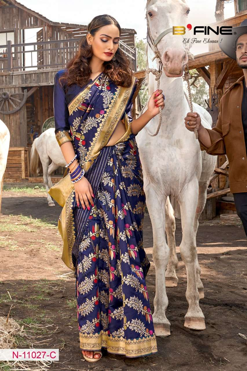 B FINE ART OF ZARI  soft silk party wear saree collection 12