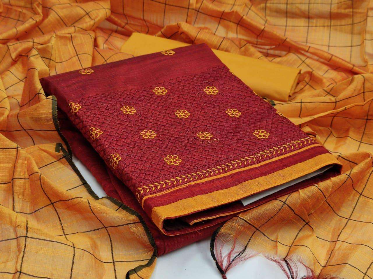 BANARASI COTTON WITH EMBROIDERY WORK DRESS MATERIAL