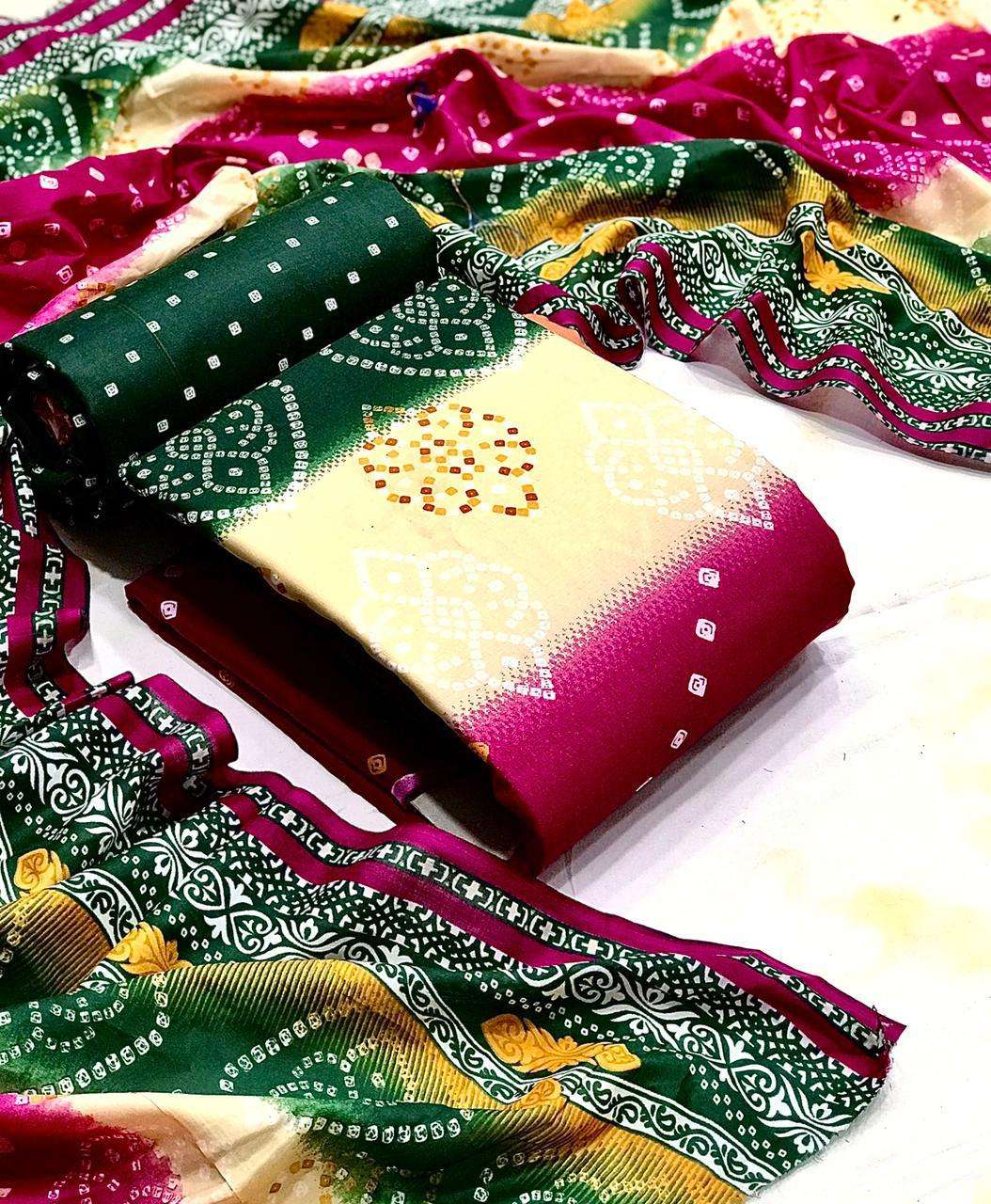 Bandhej Patiala Cotton with Bandhej Print Dress Material Collection